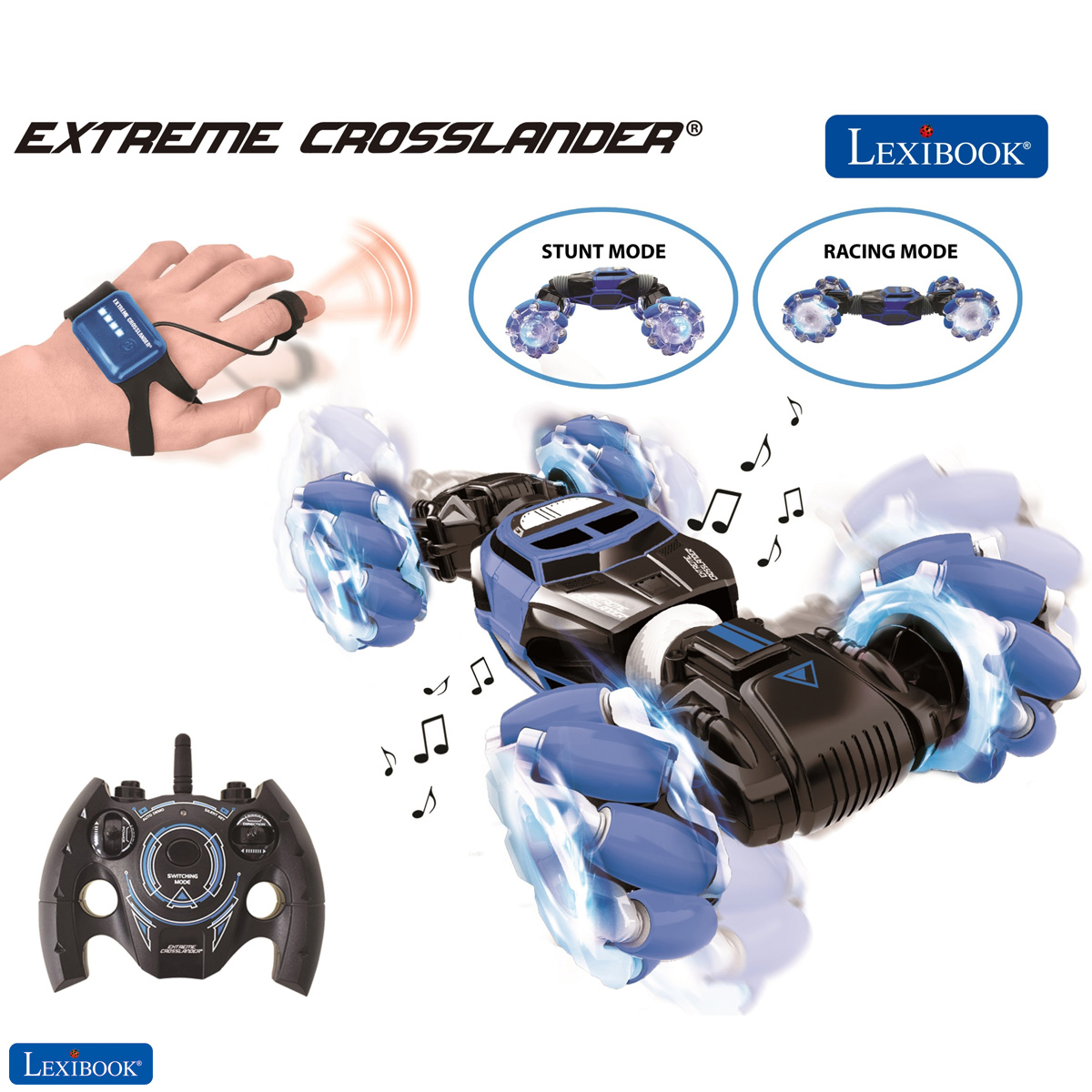 Lexibook - Extreme Crosslander - Rechargeable Radio Controlled Stunt Car with lights and sounds with both motion and remote control (RC50)