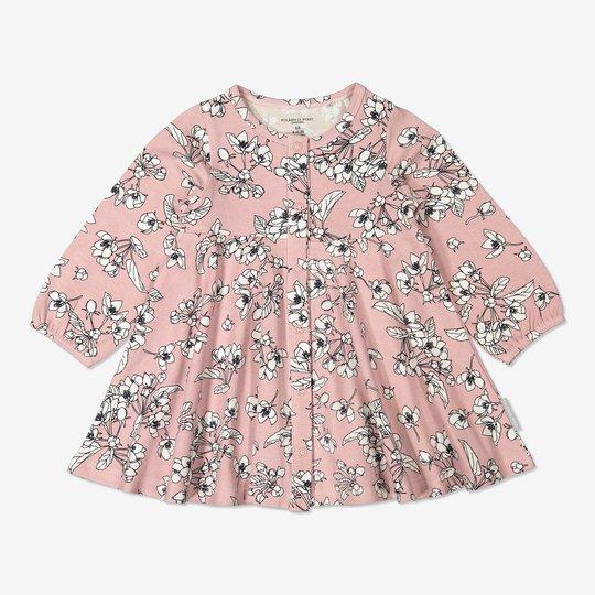 Kjole med blomstertrykk baby rosa