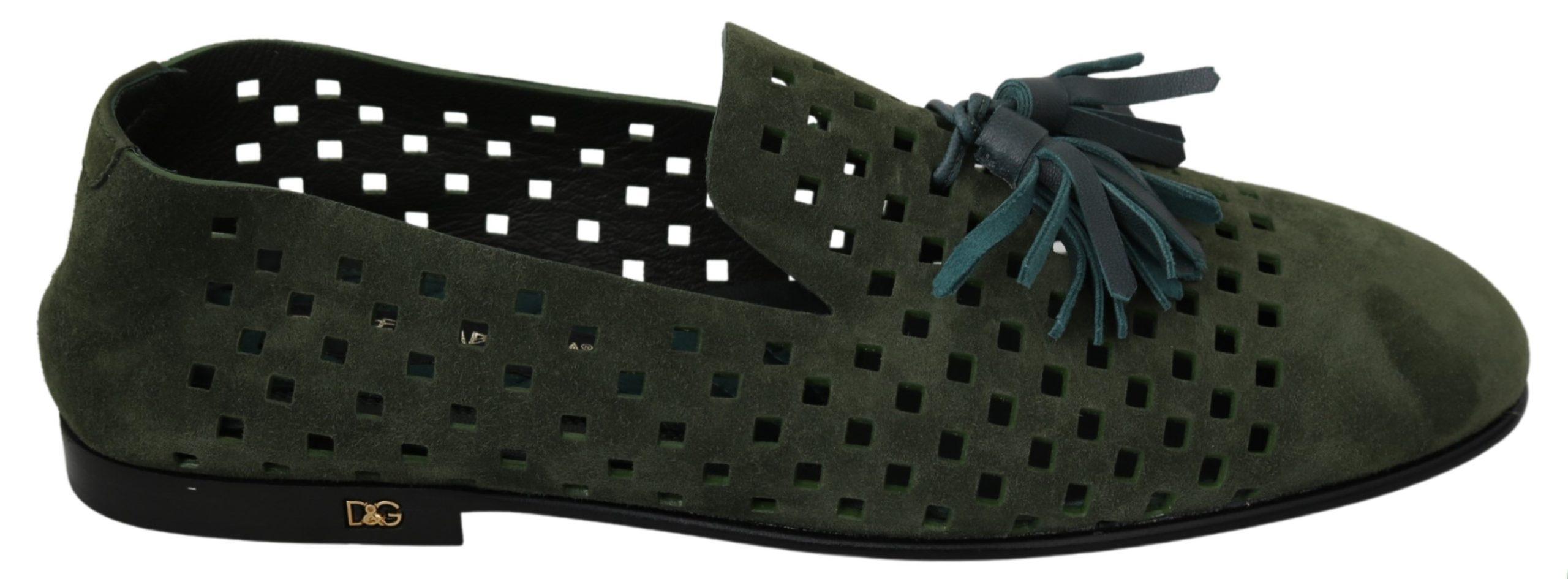 Dolce & Gabbana Men's Suede Breathable Loafer Green MV2854 - EU41/US8