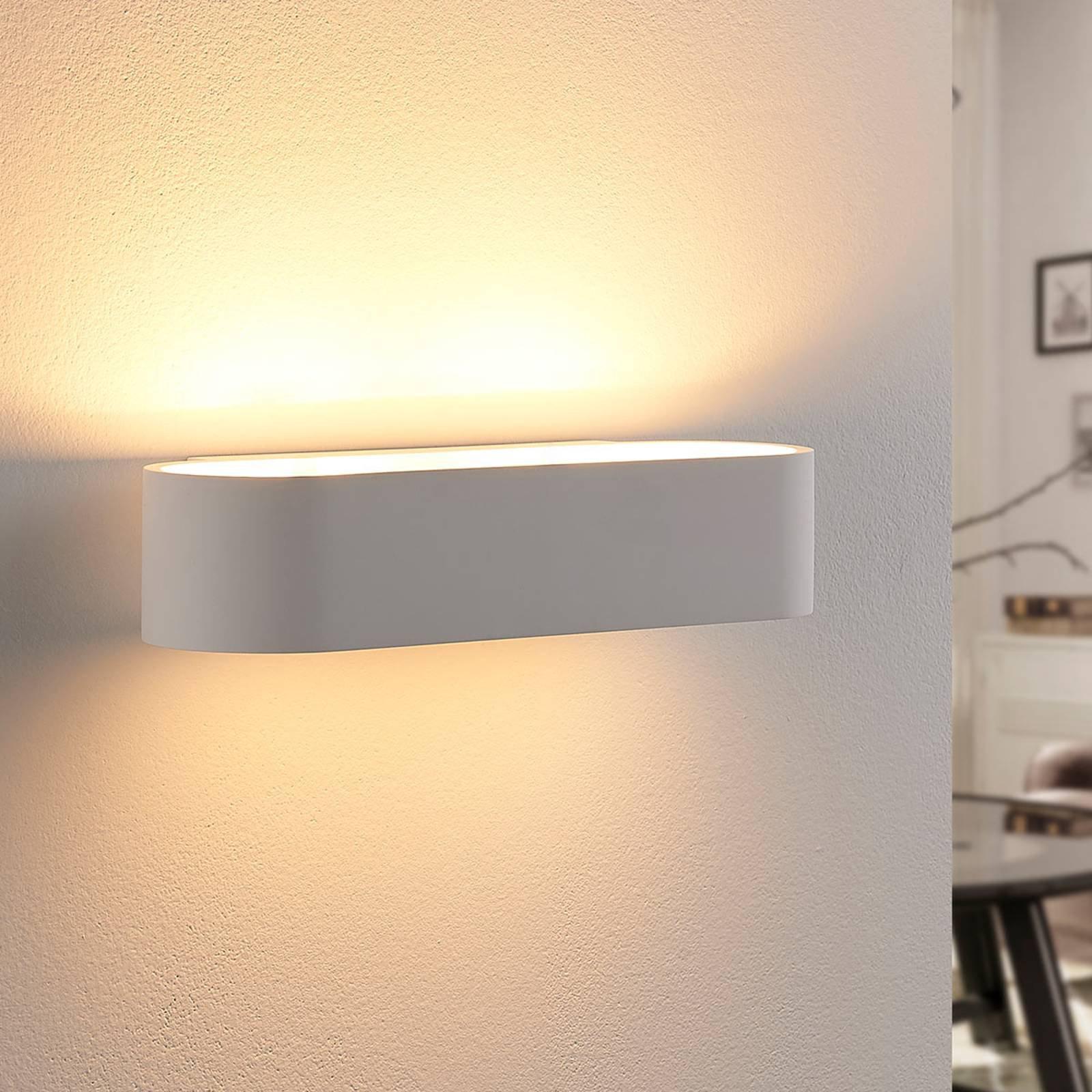 Avrundet vegglampe Fioni i gips, LED