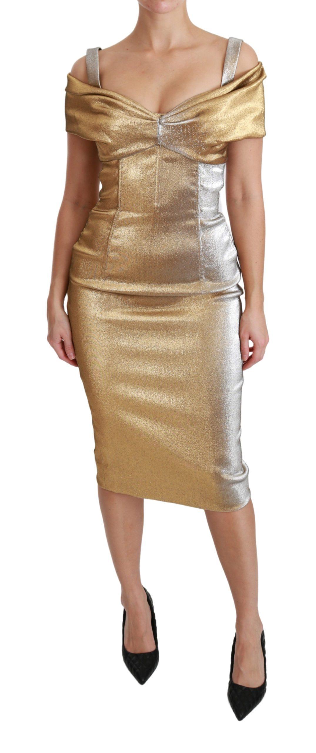 Dolce & Gabbana Women's Sheath Midi Dress Gold DR2523 - IT40|S