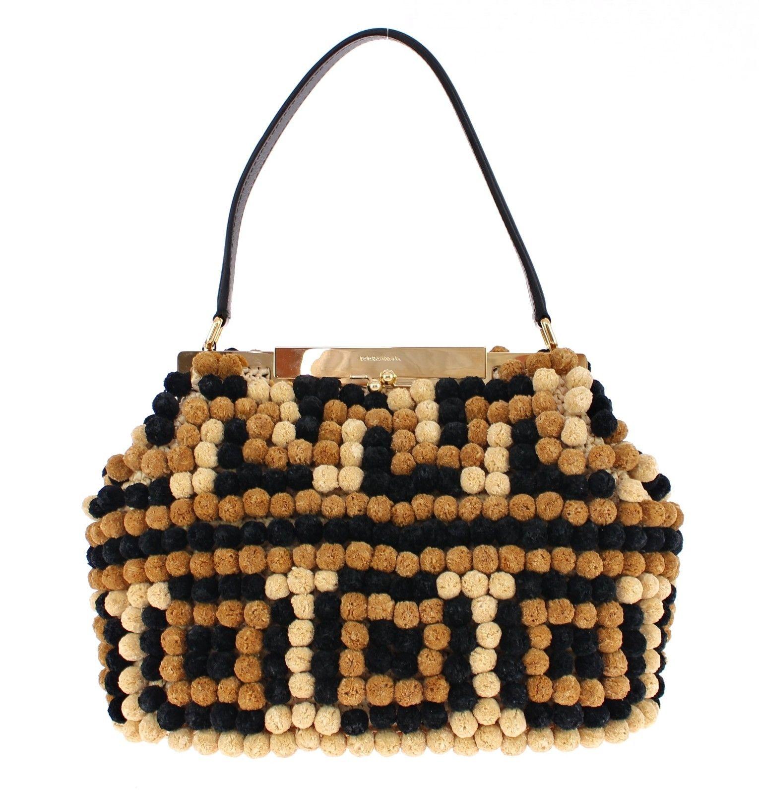 Dolce & Gabbana Women's Sara Raffia Leather Pebbled Shoulder Bag Black MOM24448