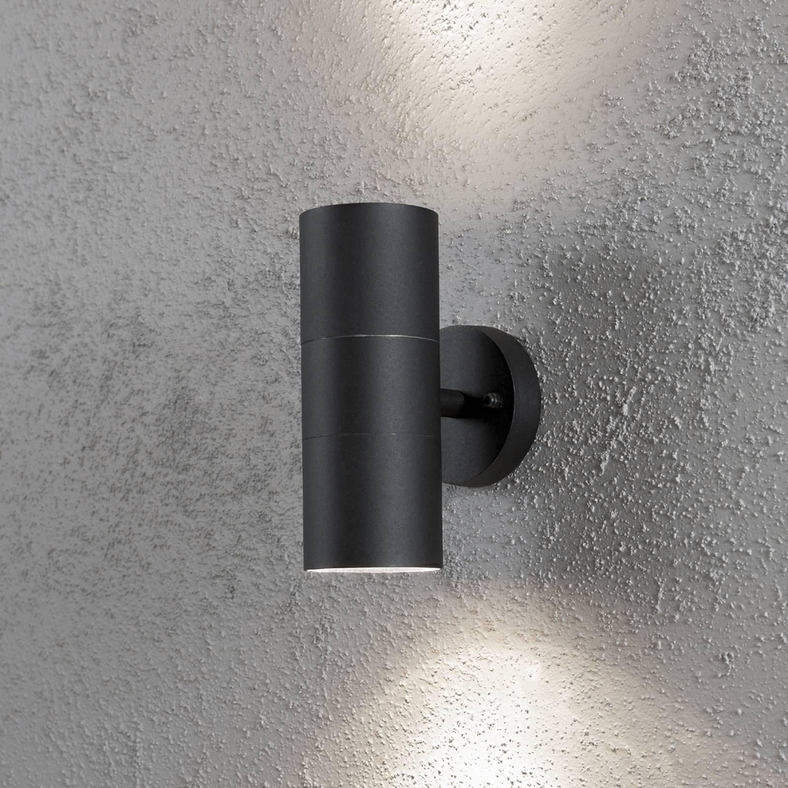 Utendørs NEW MODENA vegglampe med to lys i svart