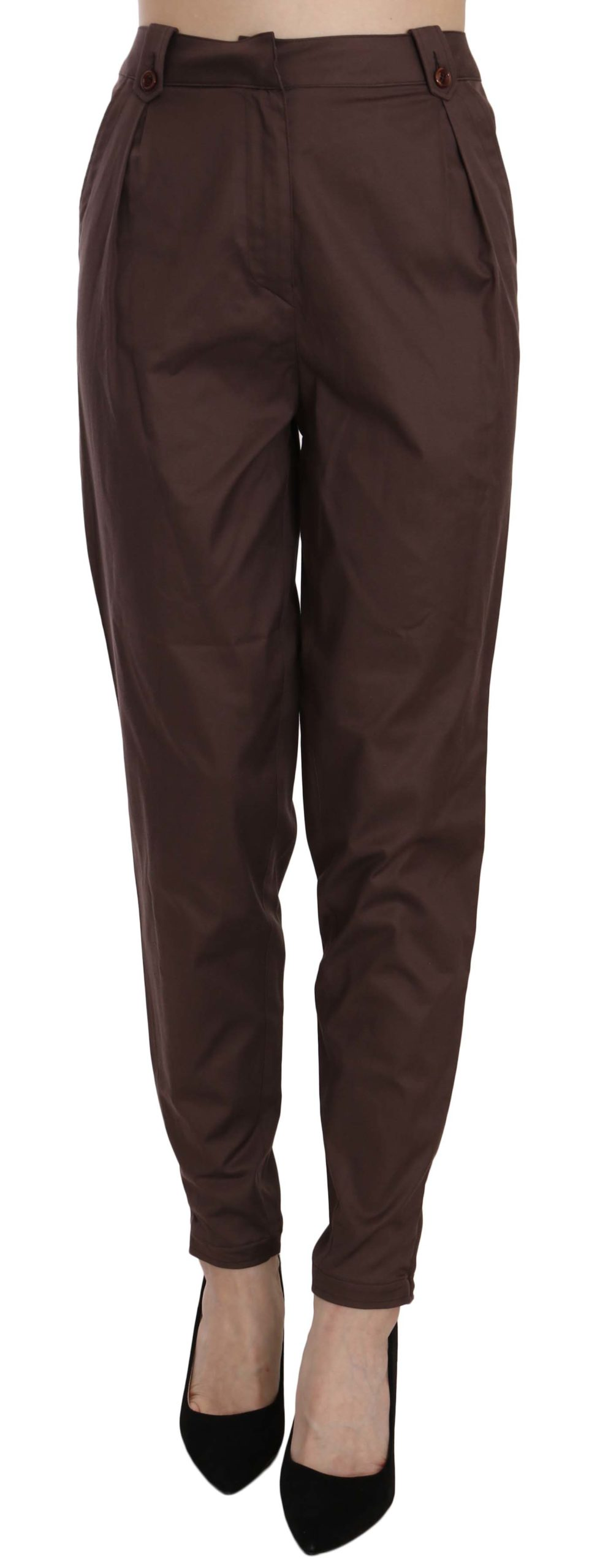 Just Cavalli Women's High Waist Tapered Trouser Brown PAN70332 - IT40 S