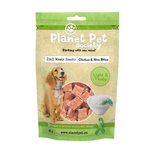 Planet Pet Society 2in1 Treats Kyckling & Risbitar (80 grammaa)