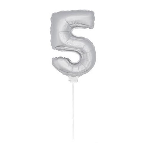 Folieballong på Pinne Silver - Siffra 5