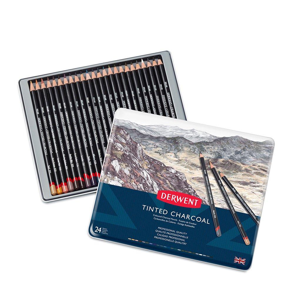 Derwent - Tinted Charcoal Pencils, 24 Tin