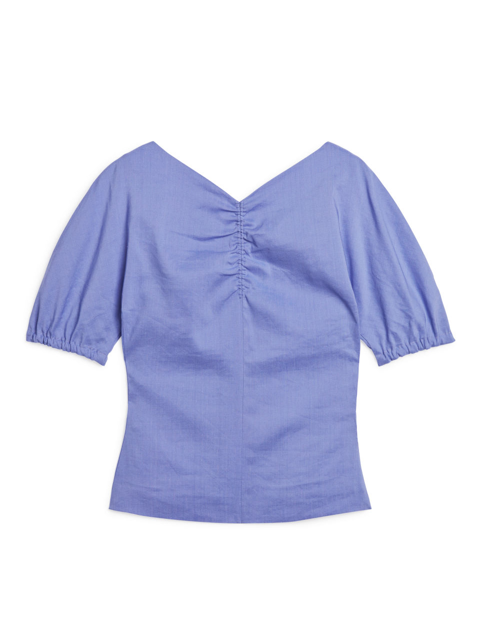 Ruched Lined Blouse - Blue