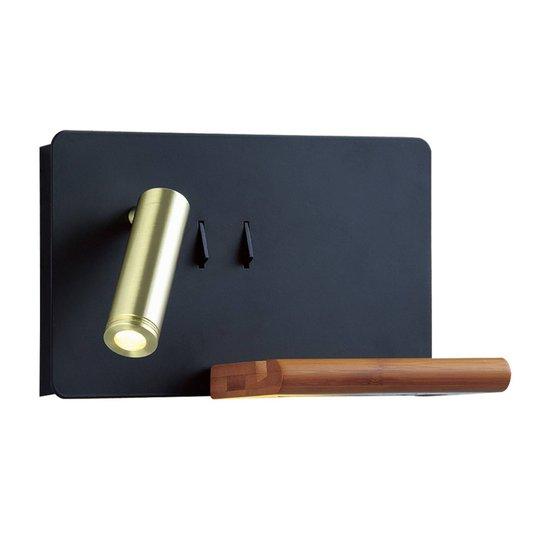 Lucande Kimo LED-vegglampe svart/gull USB hylle