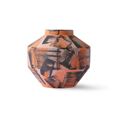 Handmålad Ceramic Vas Orange/Black
