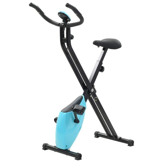 vidaXL X-Bike motionscykel magnetiskt motstånd puls svart och blå