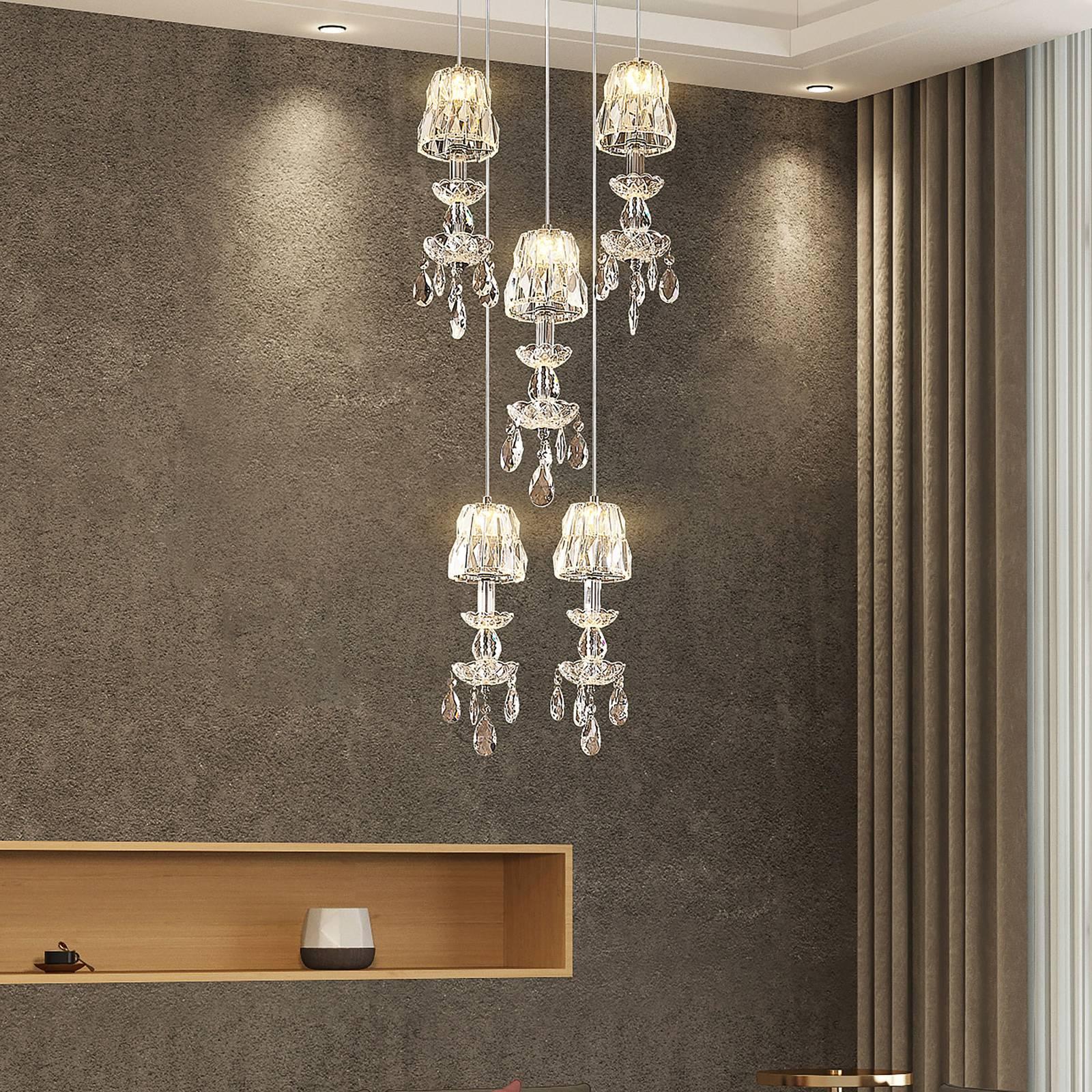 Lucande Yasanie -LED-riippuvalaisin, 5-lamppuinen