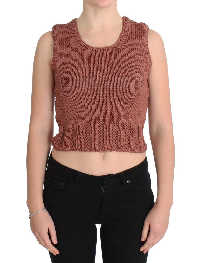 Pink Memories Women's Knitted Sleeveless Sweater Red SIG30254 - One Size