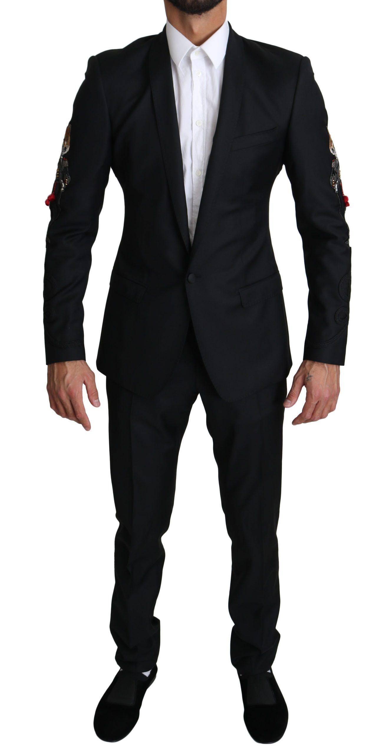 Dolce & Gabbana Men's 2 Piece FOX Embroidered Suit Gold Black KOS1530 - IT46 | S