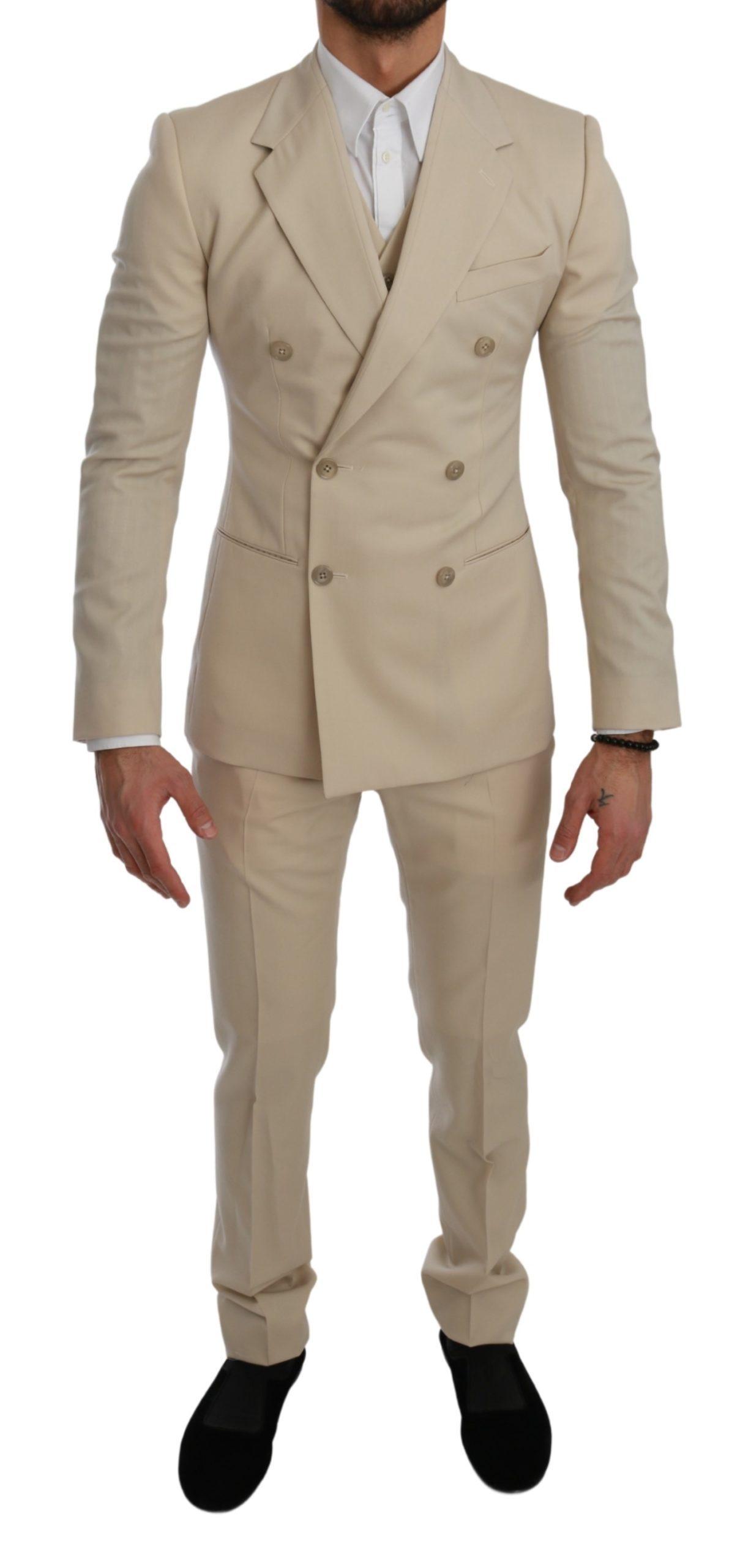 Dolce & Gabbana Men's Double Breasted 3 Piece Wool Suit Beige KOS1740 - IT44 | XS