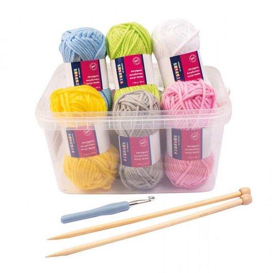 Playbox Garn, Strikkepinner og Heklenål, 6 farger