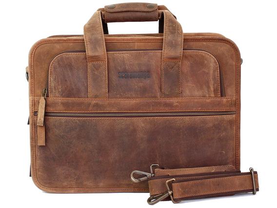 Men's Citylander Leather Briefcase Brown 15 Inch