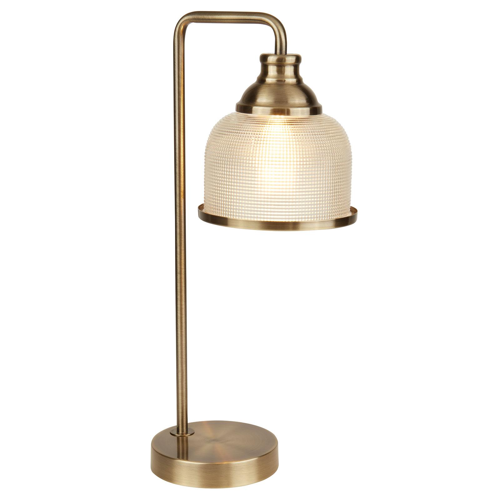 Bistro II pöytälamppu Holophane-lasia vanhamessink