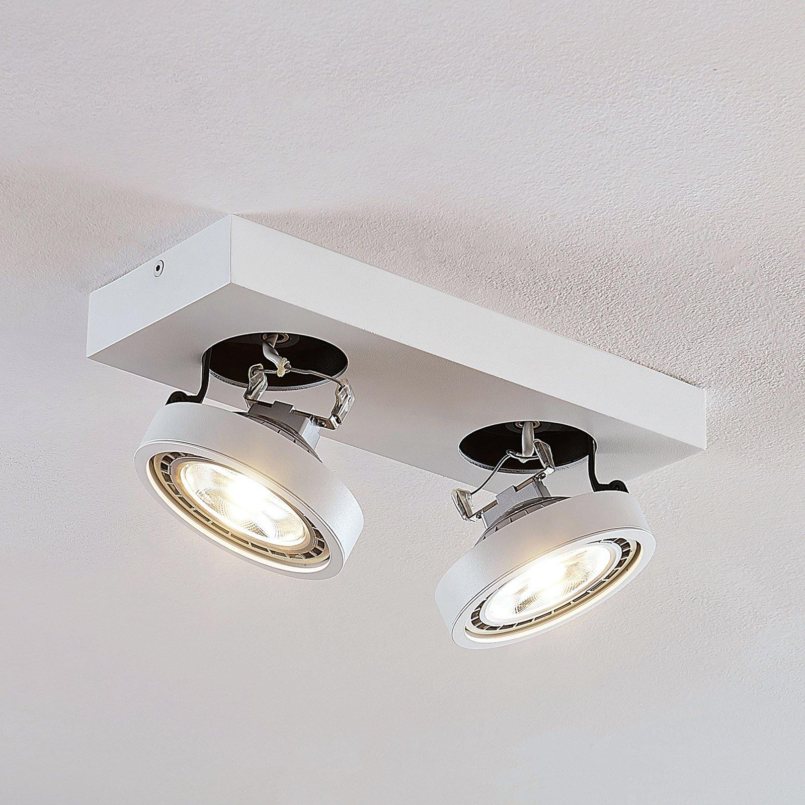LED-taklampe Negan i hvit, 2 lyskilder