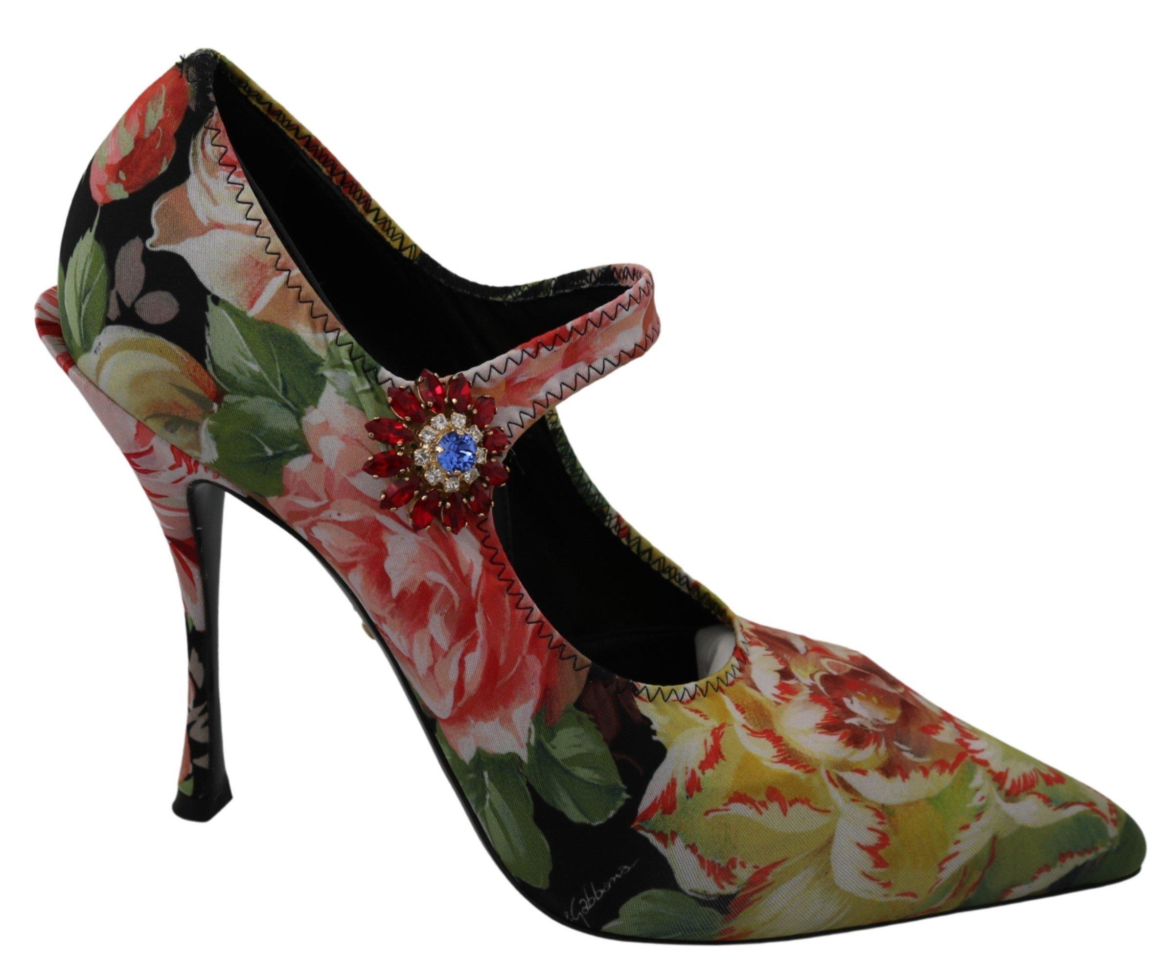 Dolce & Gabbana Women's Neoprene Mary Janes Crystal Pumps Black LA7371 - EU40/US9.5