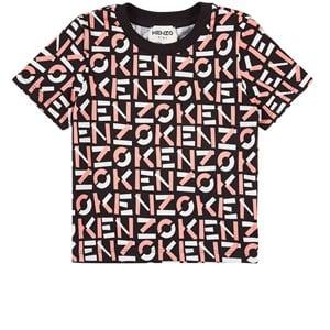 Kenzo All Over Logo T-shirt Svart 2 år