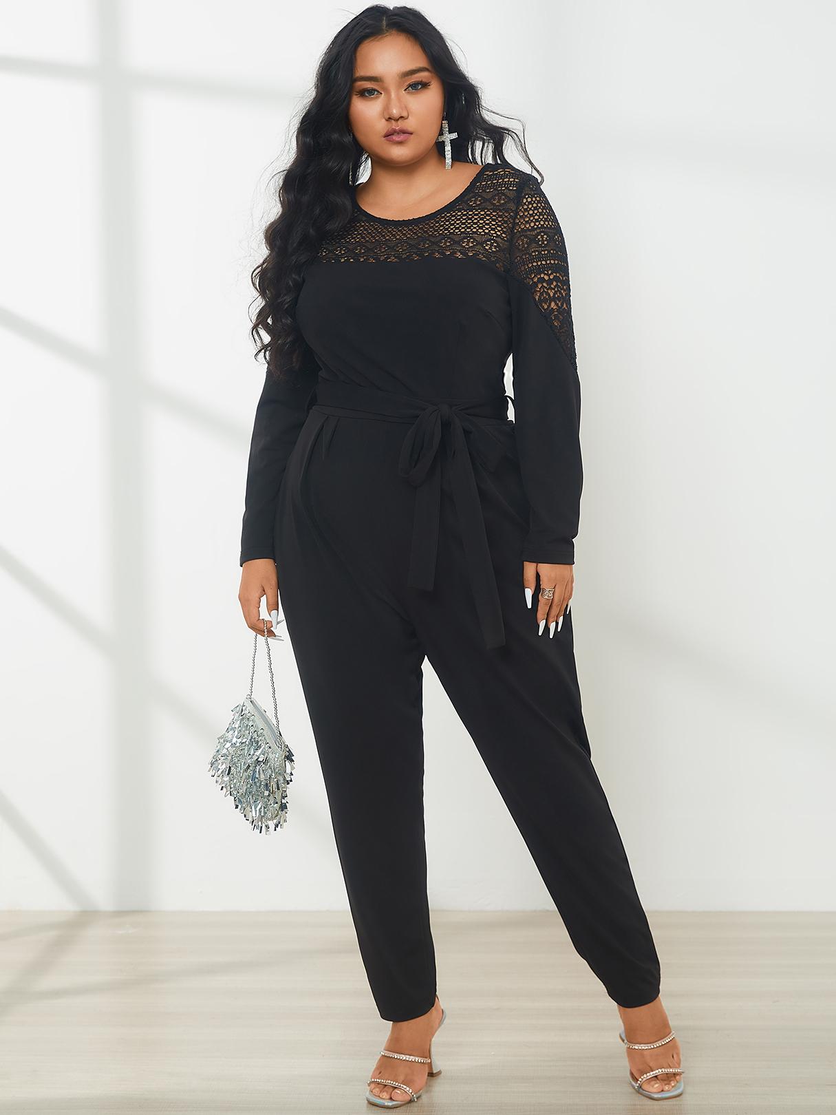 YOINS Plus Size Halloween Crew Neck Lace Patchwork Long Sleeves Jumpsuit