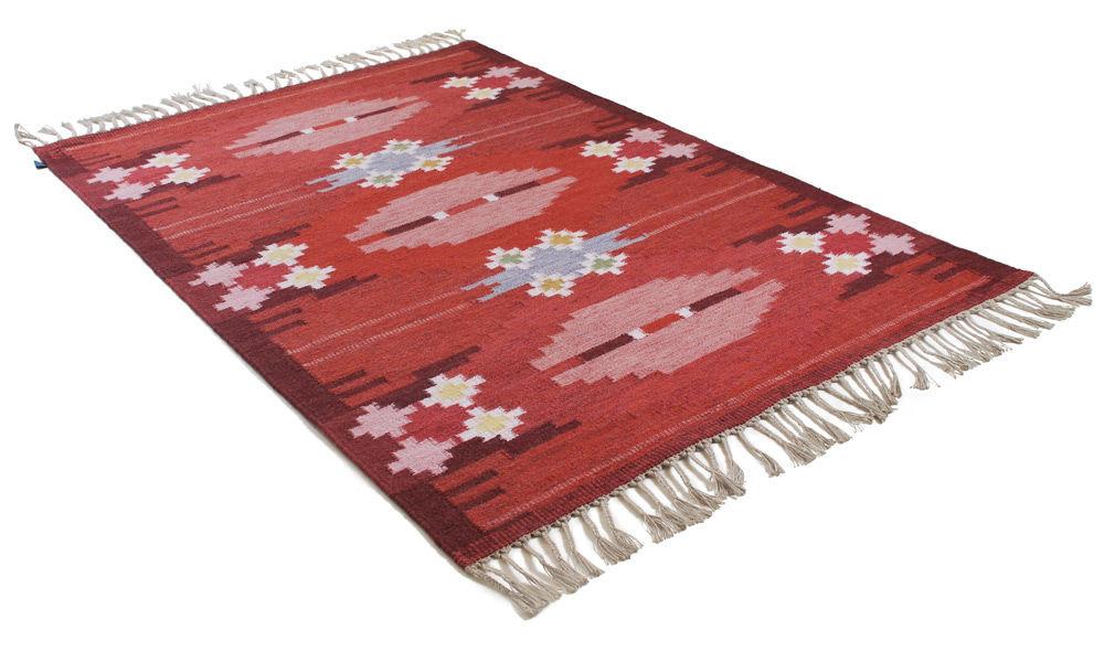 Örbyhus rød - håndvevd ullteppe