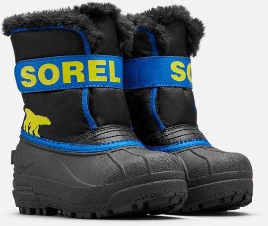 Sorel Childrens Snow Commander Vintersko, Black/Super Blue, 27