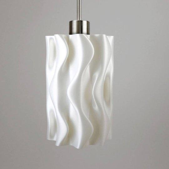 Hengelampe Amöbe, 3D-trykt, hvit