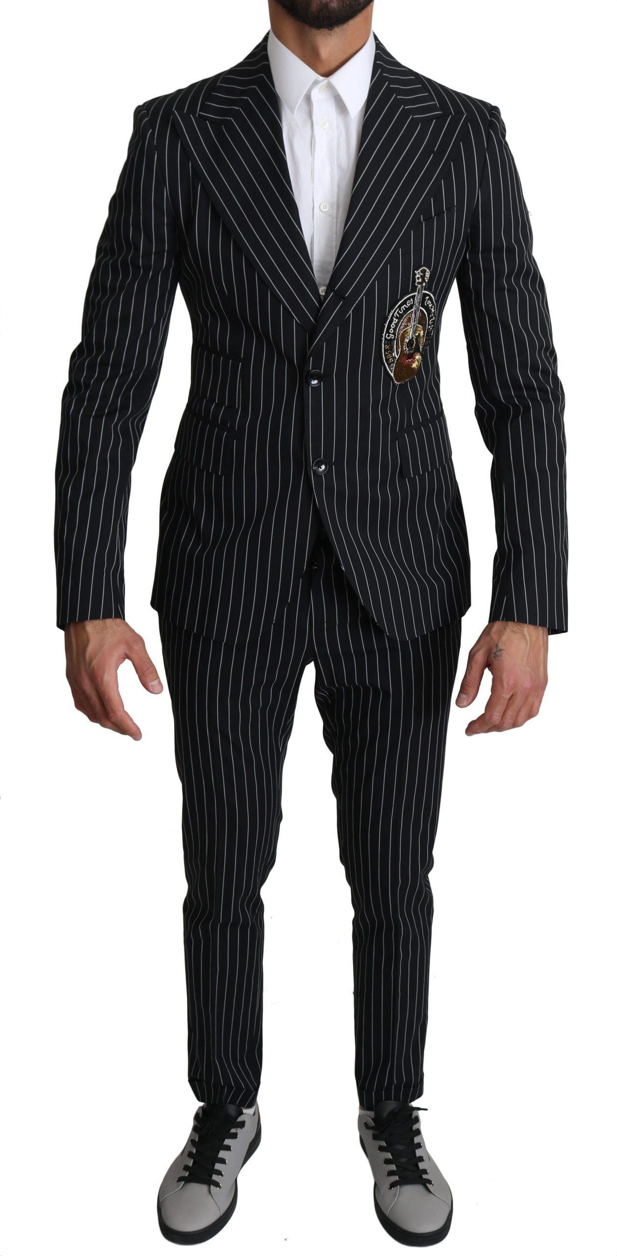 Dolce & Gabbana Men's Stripes Guitar Patch 2 Piece Suit Beige KOS1526 - IT46 | S