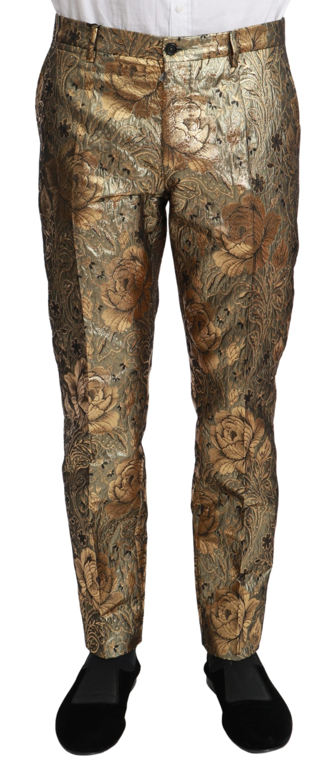 Dolce & Gabbana Men's Jacquard Slim Dress Trouser Gold PAN70963 - IT48 | M