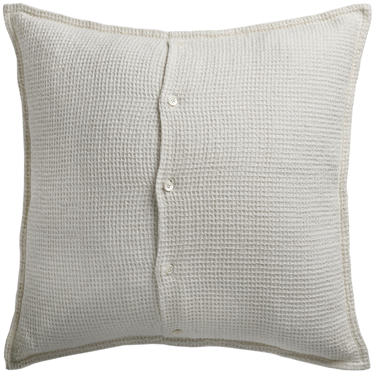 de Le Cuona | Linen Waffle Cushion With Buttons Cream §