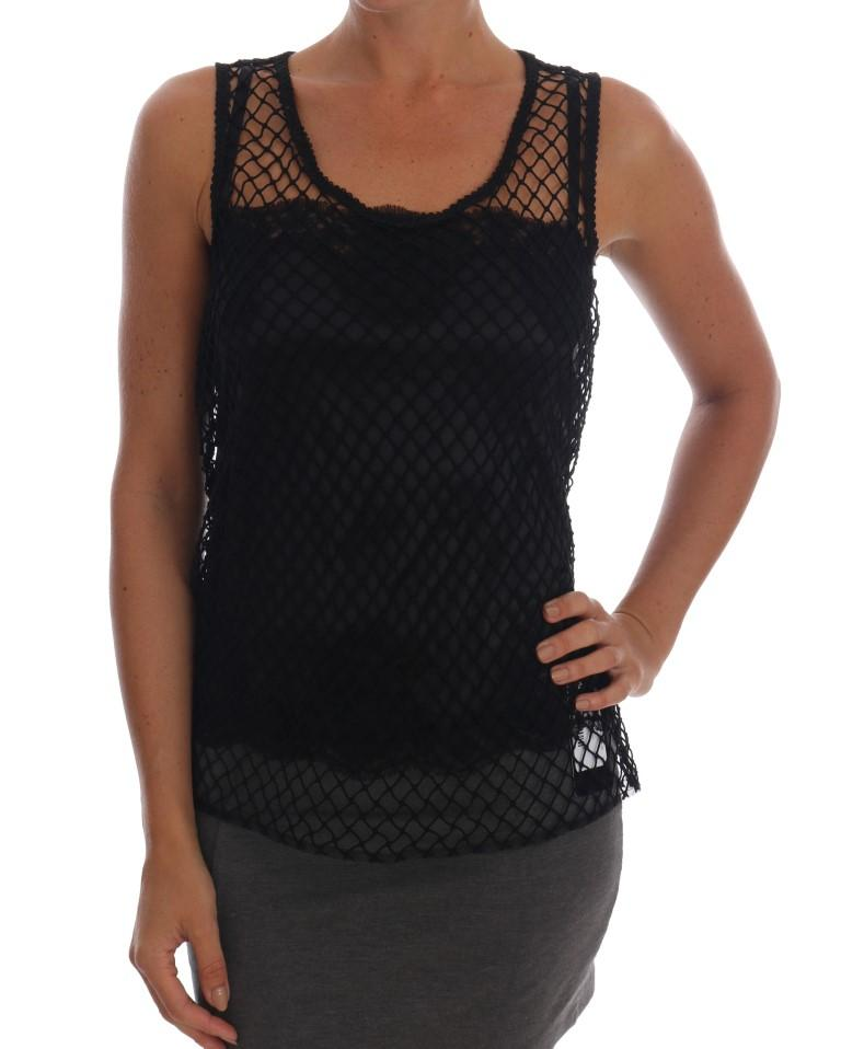 Dolce & Gabbana Women's Silk Mesh Floral Lace Top Black TSH1412 - IT42 M