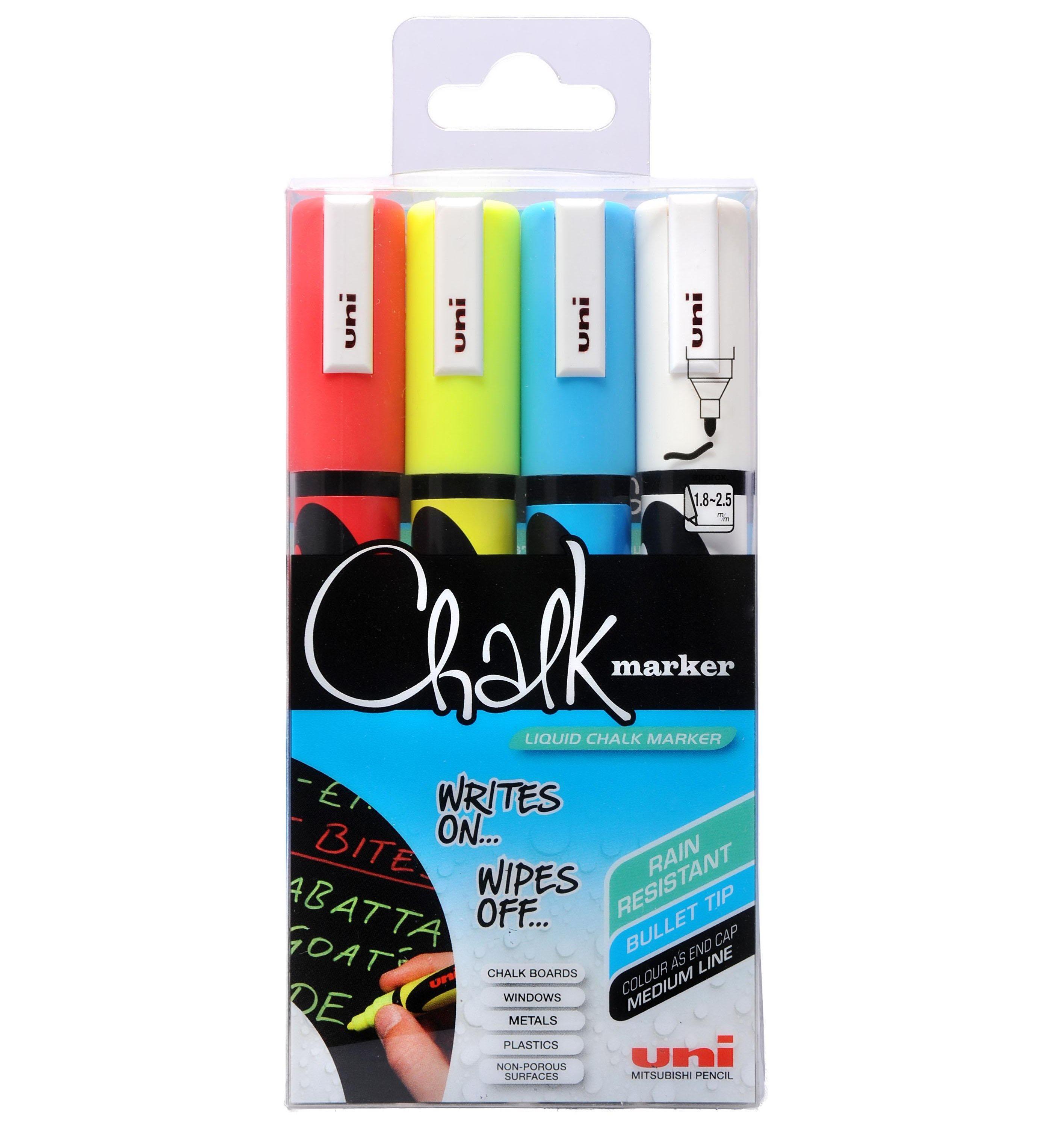 Uni - Chalkmarker 5M - Assorted colors, 4 pc