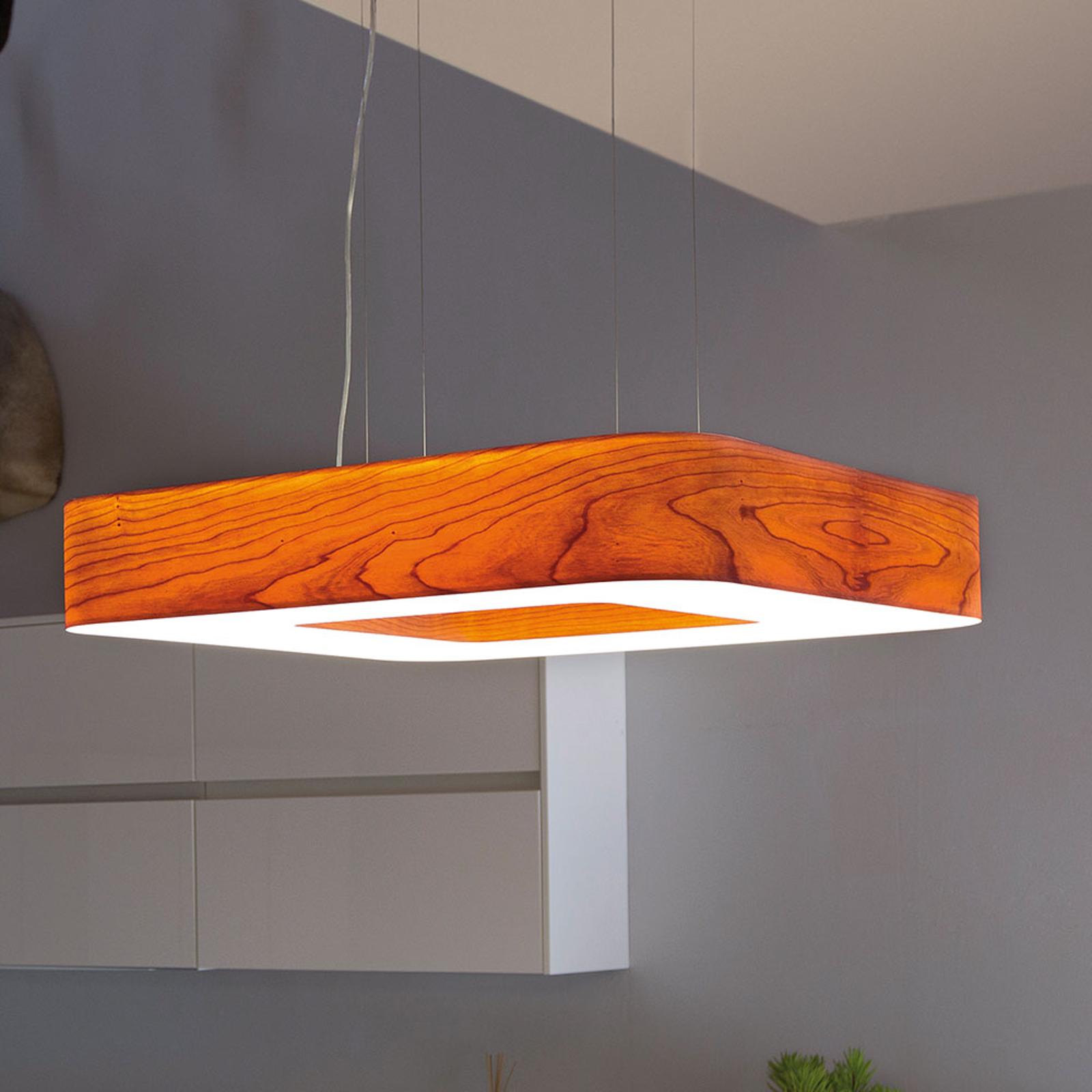 LZF Cuad -LED-riippuvalaisin 0–10 V, kirsikkapuu