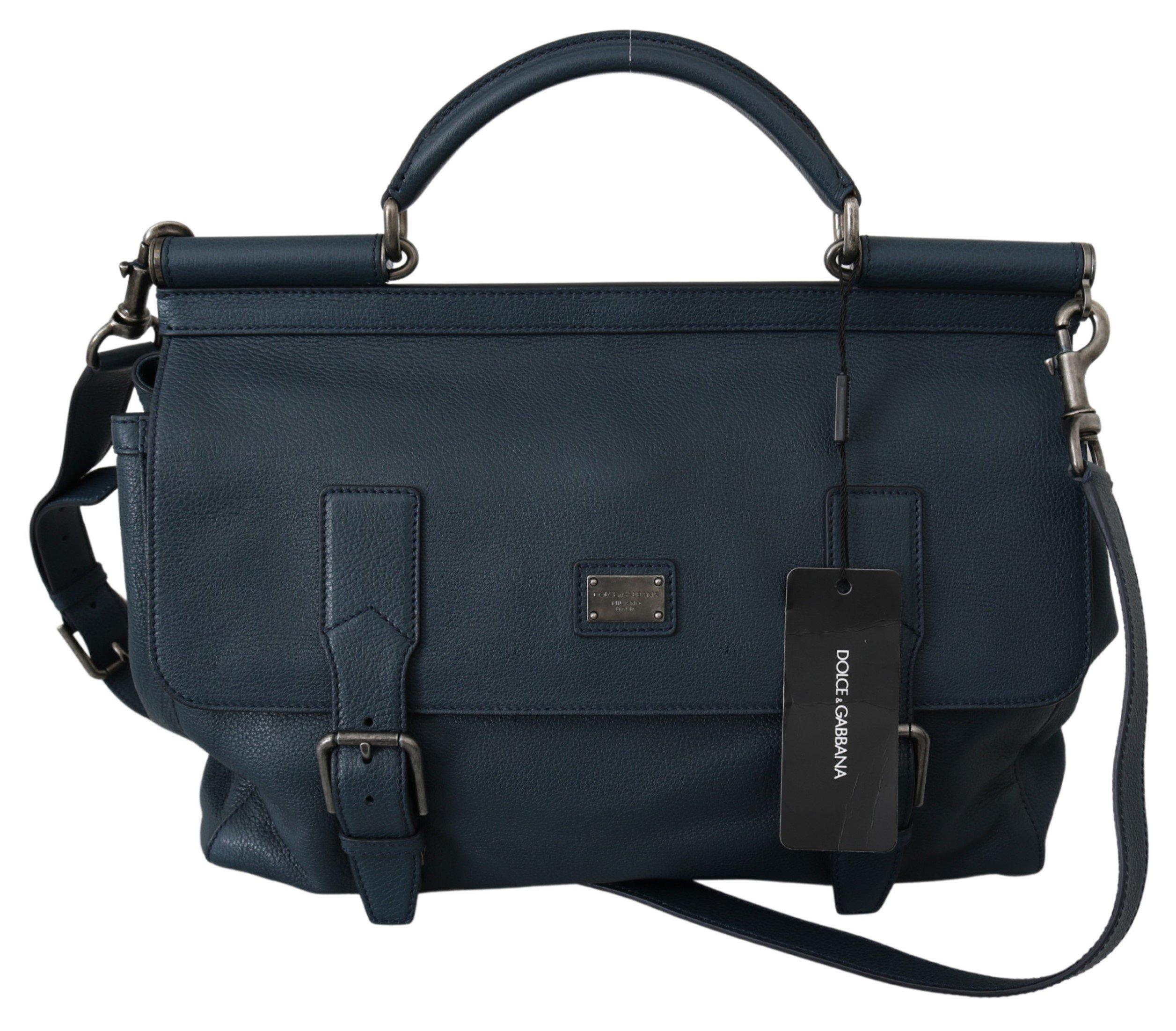 Dolce & Gabbana Men's Shoulder Strap Leather Travel Bag Blue VAS10051