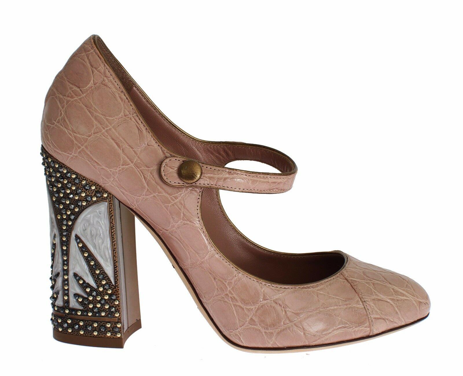Dolce & Gabbana Women's Leather Embellished Heel Pink LA2174 - EU37/US6.5