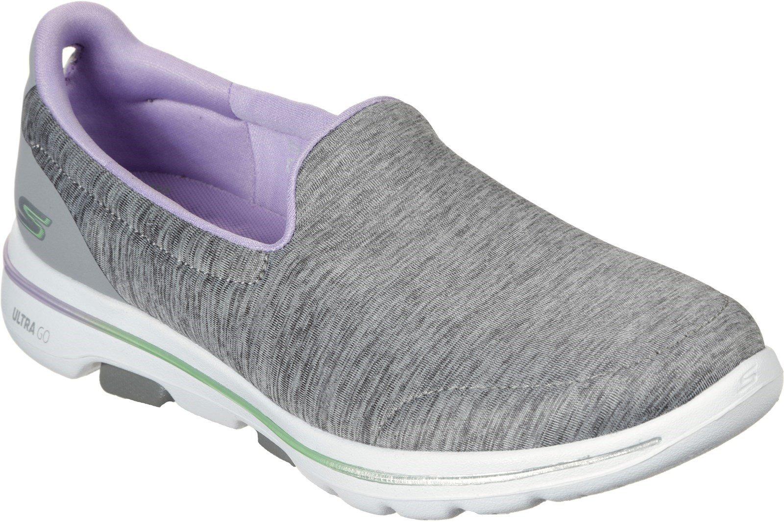 Skechers Women's GOwalk 5 Surprise Slip On Trainer Multicolor 31030 - Grey/Lavender 3