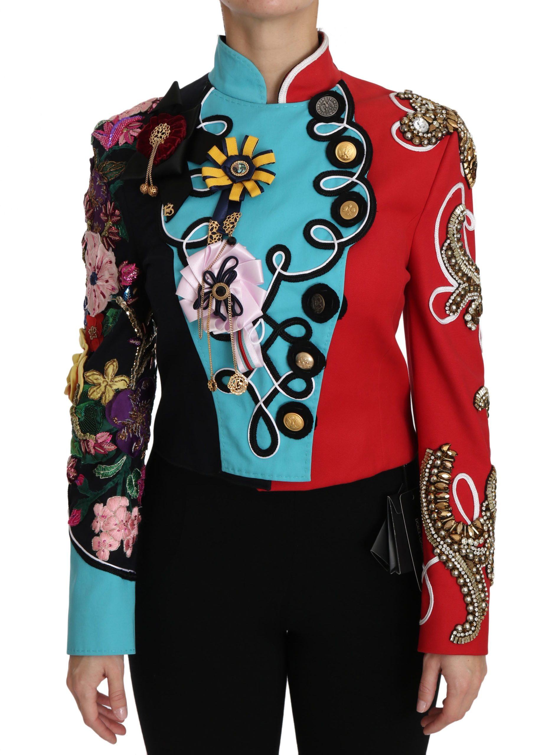 Dolce & Gabbana Women's Crystal Floral Baroque Sicily Jacket Red JKT2411 - IT38   S