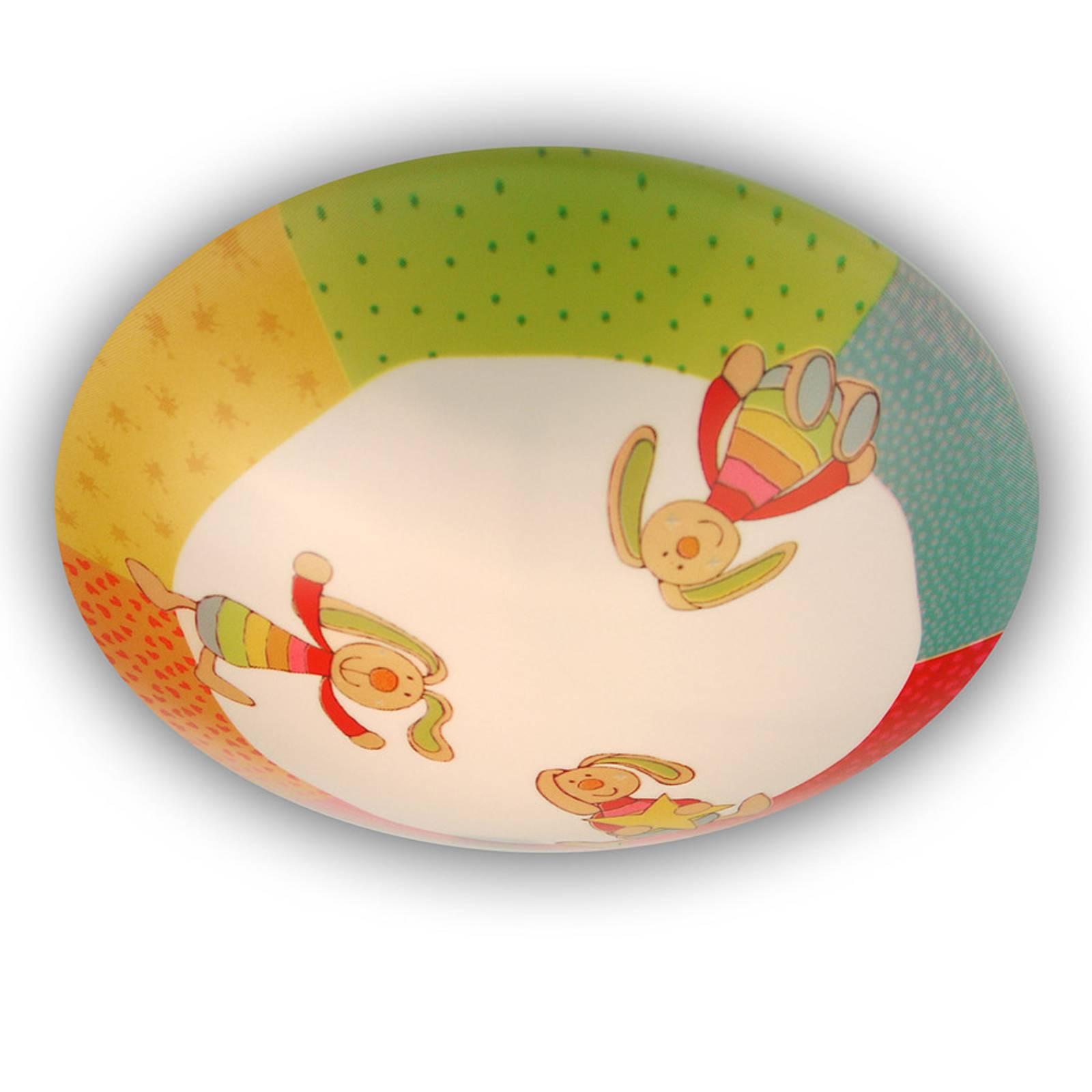 Rainbow Rabbit - pyöreä lastenhuoneen kattolamppu
