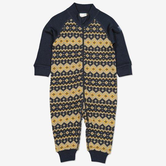 Merinoull dress jaquardmønstret baby mørkblå