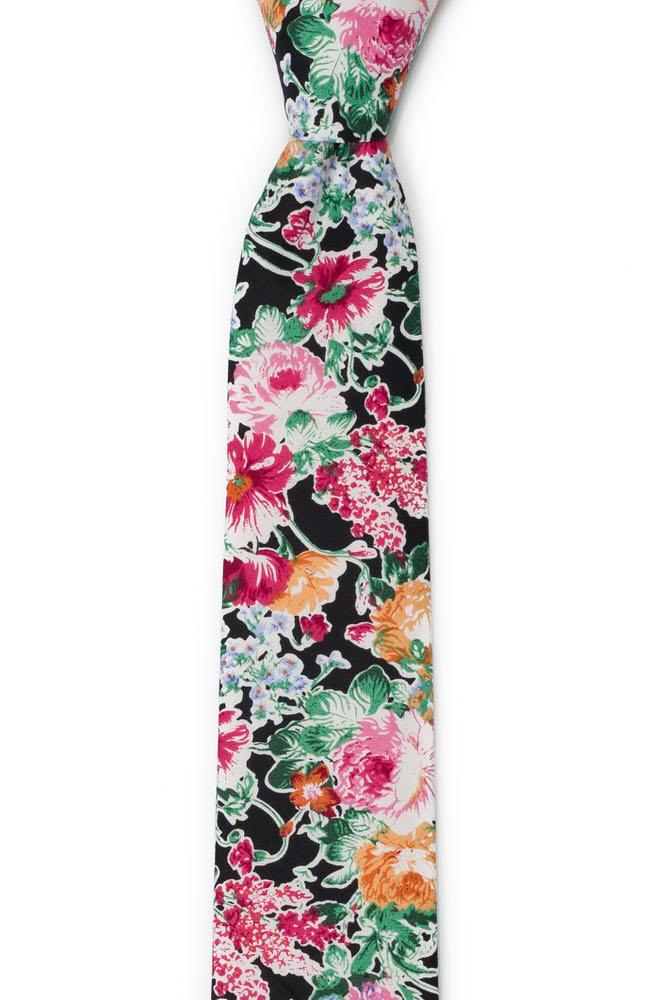 Bomull Smale Slips, Blomsterdesign over det hele på svart bakgrunn