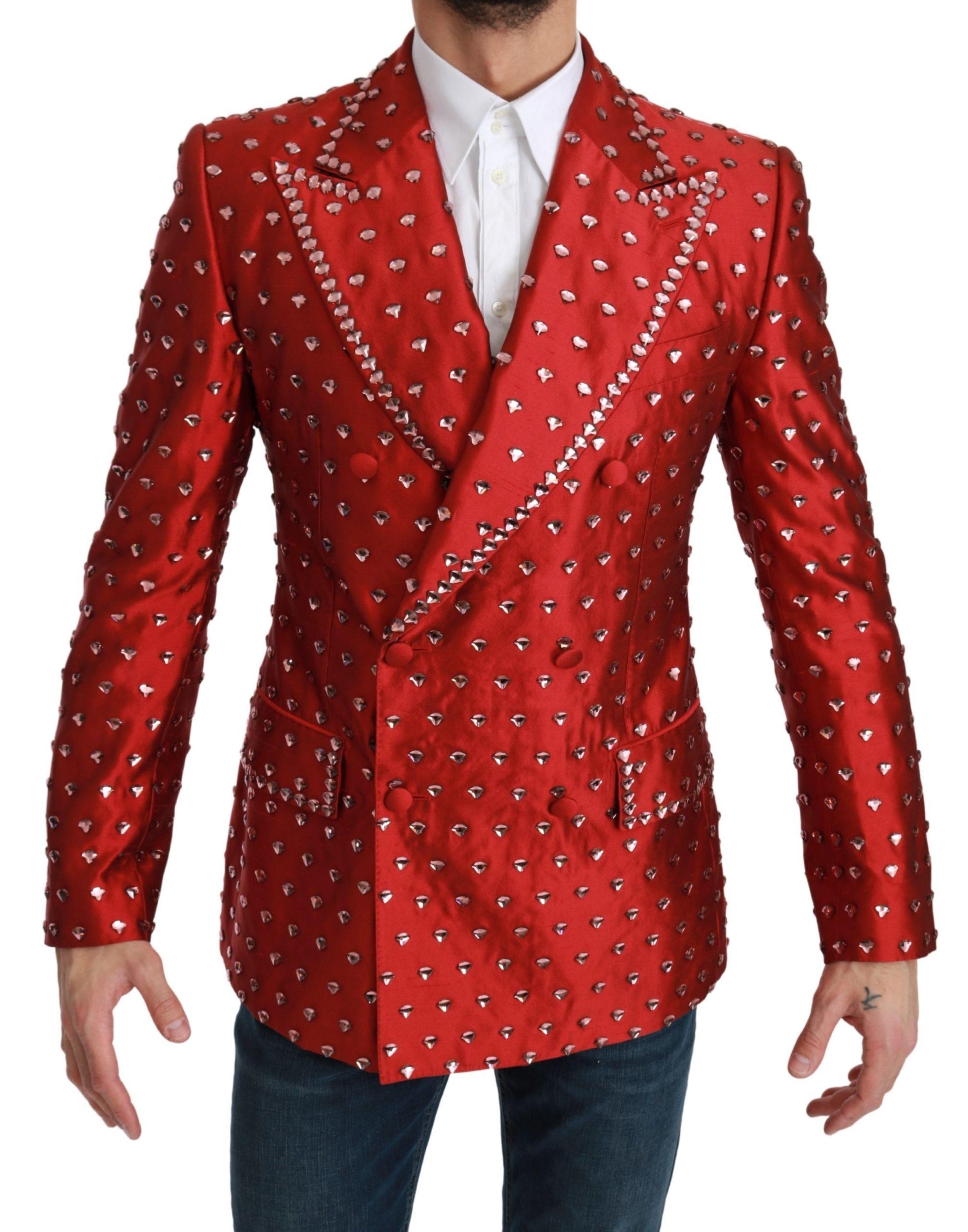 Dolce & Gabbana Men's Silk Crystal Blazer Red KOS1789 - IT48 | M