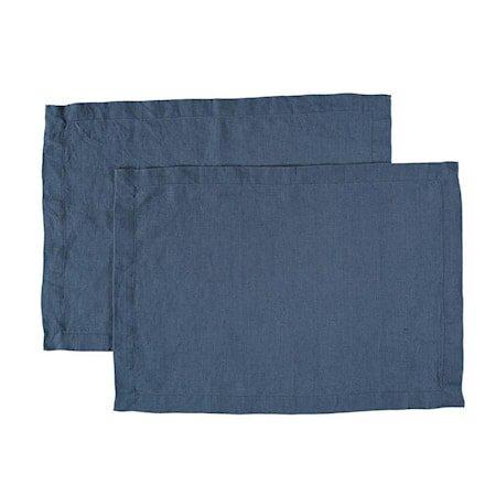 Bordbrikke Vasket lin 2-pakning Blå 35x45cm