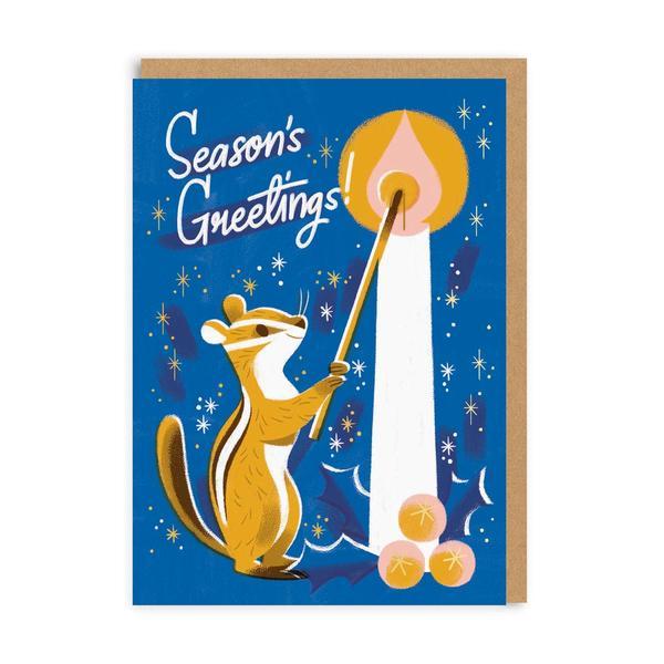 Season's Greetings Chipmunk Christmas Card
