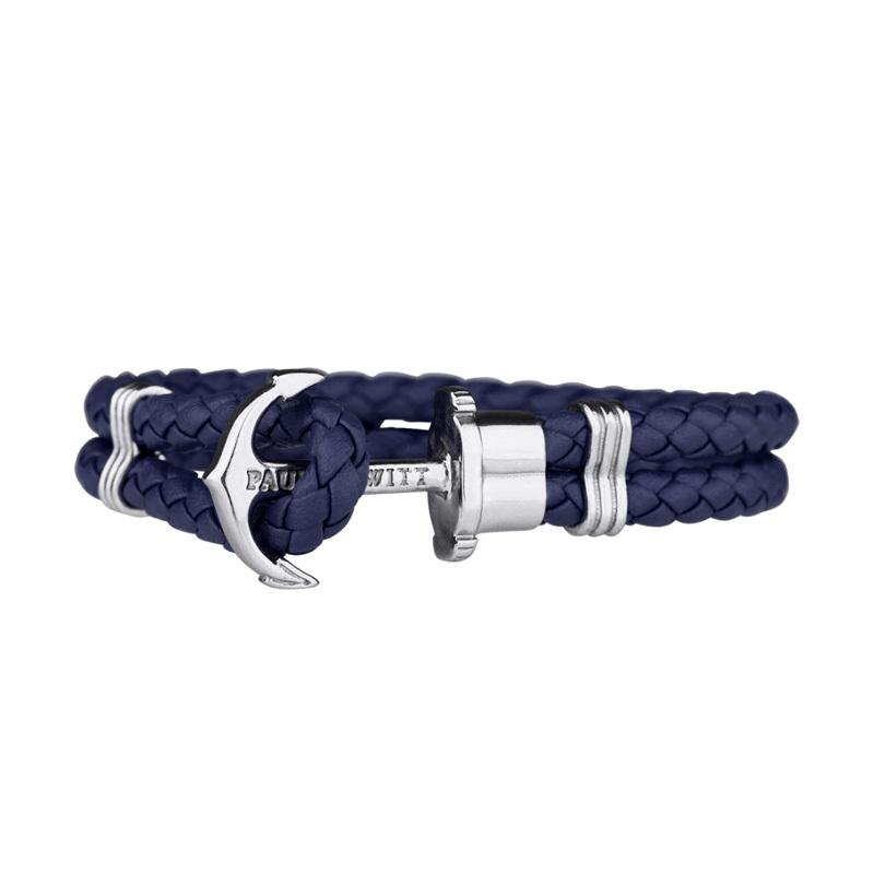 Paul Hewitt Phrep Silver Anchor Armband Marinblå - XXL PH-PH-L-S-N-XXL