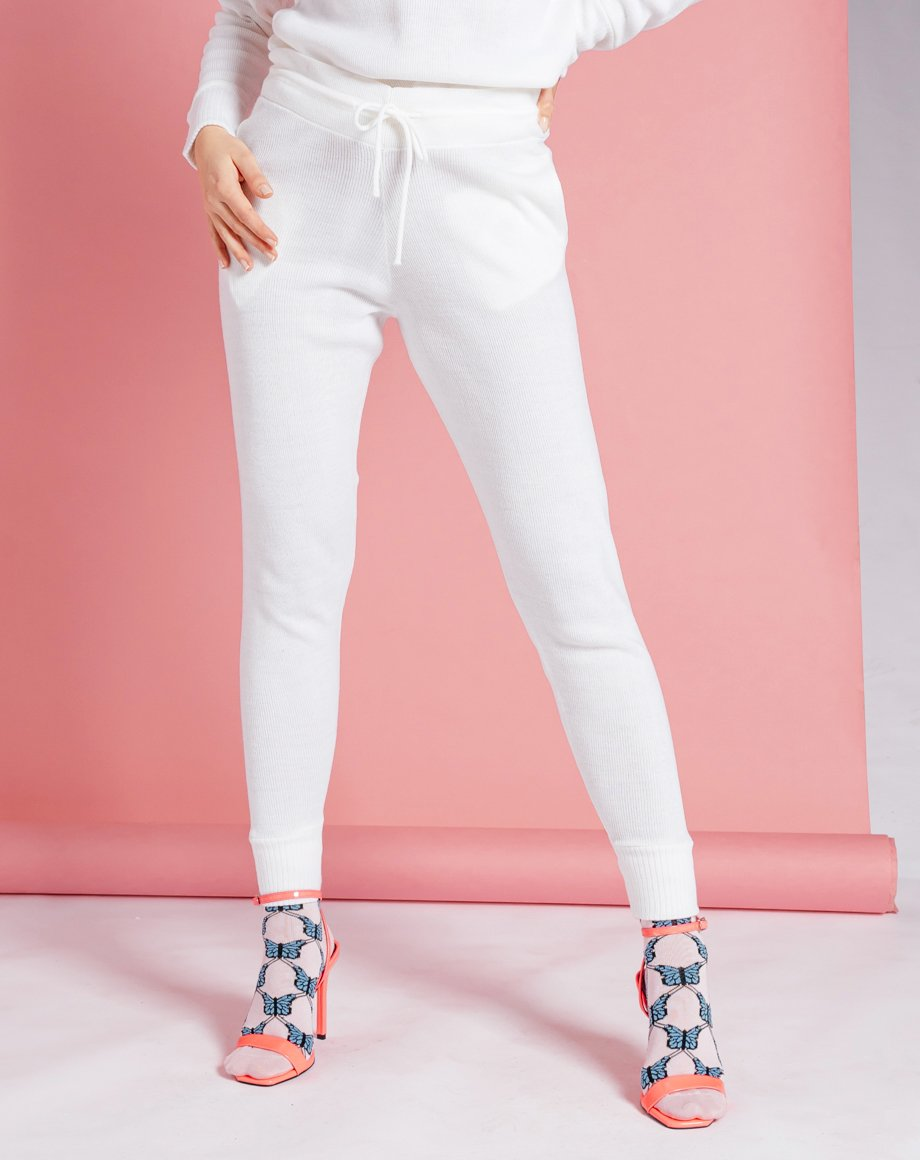 Auriel Knitted Lounge Bottoms - White / 8