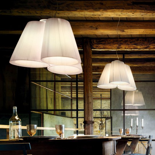 Modo Luce Florinda hengelampe 3 lys plissé hvit