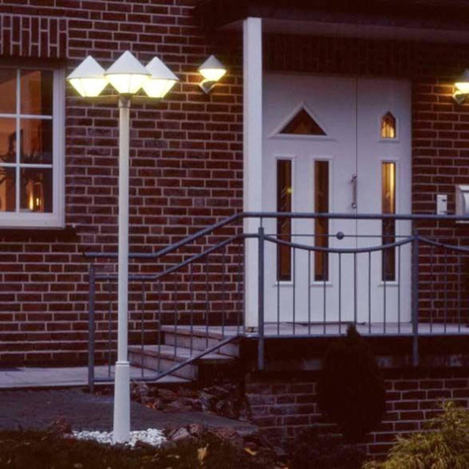 Moderni lyhtypylväs 181, valkoinen, 3-lamppuinen