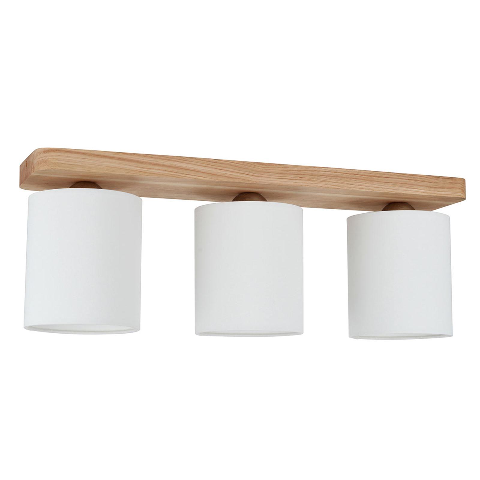 3-lamppuinen Jenta-kattovalaisin, puinen kiinnike